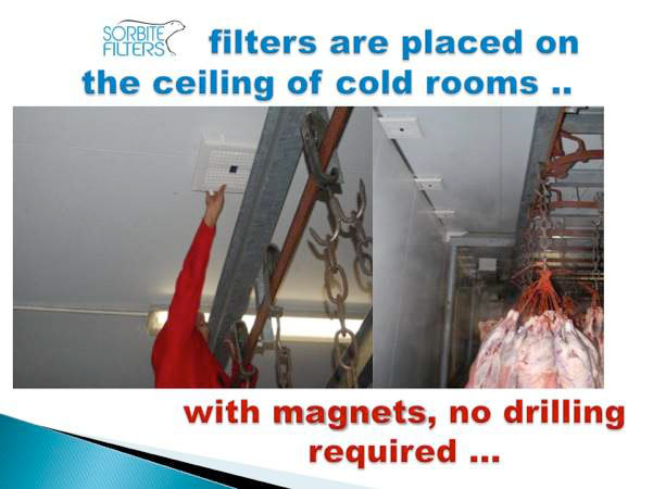 How are the filters installed in a meat cold room